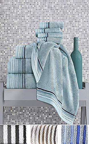Classic Turkish Towels 8 Piece Luxury Bamboo Cotton Fiber Towel Set - Silky Soft Natural Hypoallergenic Bath Towels
