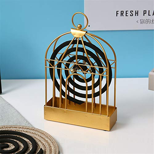 Tpingfe Vintage Wrought Iron Mosquito Cage Golden Bird Cage Mosquito Coil Box Mosquito Coil Holder, Stainless Steel Tray Fireproof
