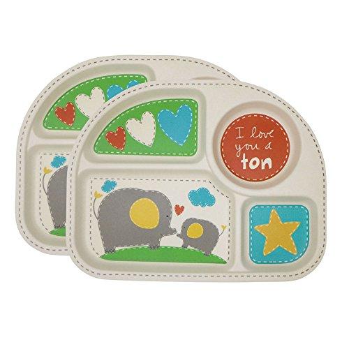 Kinderteller Set, Baby Teller Kleinkind Teller BPA-frei Menü Tablett (2er Set) Menüteller bambus für Babys und Kinder (Elefanten Muster)