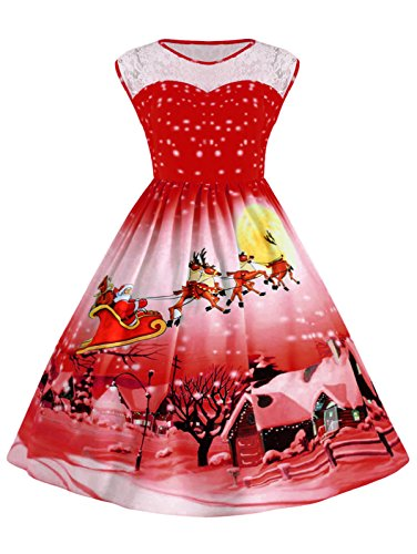 Womens Plus Size Lace Neck Sleeveless Santa Printed Red Christmas Party Dress