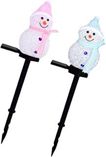 FRCOLOR 2Pcs Christmas Snowman Pathway Light Waterproof LED Garden Stake Solar Powered Landscape Lamps Marker for Indoor O...