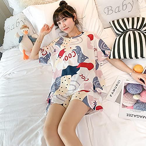 Cxypeng Pijamas Mujer Invierno Polar Franela,Mangas Cortas + Pantalones Cortos de algodón Puro Servicio a Domicilio, Pijama de Verano Traje de Mujer-M_ZT604,Pijamas de Franela Suave Cálida Ropa