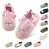 Baby Boys Girls Slippers Non Skid Rubber Sole Baby Walking Shoes Cartoon Infant Sneaker Toddler House Shoes for Baby Girls(6-24 Months)(12-18 Months Toddler,1-Pink Cat)