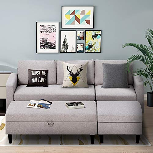 Esright Small Light Gray Sectional Sofa with Storage Ottoman and Chaise Lounge, 3-Seat Fabric Living Room Furniture Sets, L-Shape Couch Sofa for Small Apartment, Living Room, Light Gray
