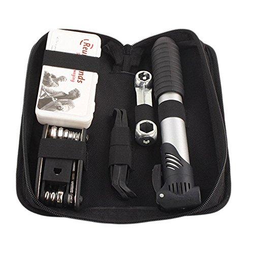 Fahrrad Reparatur Set, Fahrradwerkzeug Flickzeug mit Pumpe und 16 in 1 Fahrradwerkzeug Set, Reifenkleber und Andere Werkzeuge
