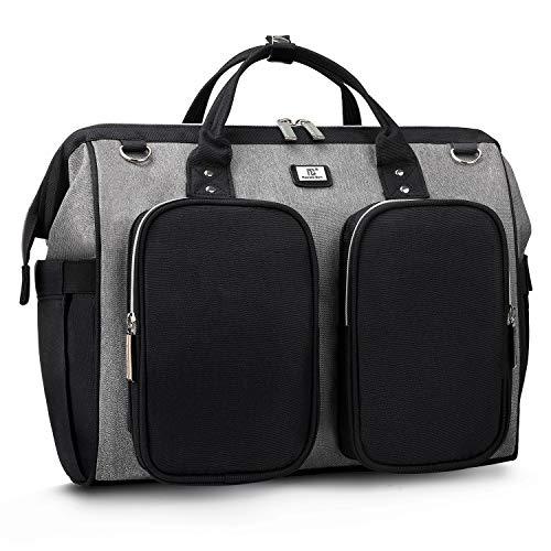 Pomelo Best Wickeltasche mit wasserdicher Wickelunterlage und 2 Kinderwagen Haken verstellbare Schultergurt multifunktionale Umhängetasche Reisetasche für Unterwegs (Schwarz/Grau)