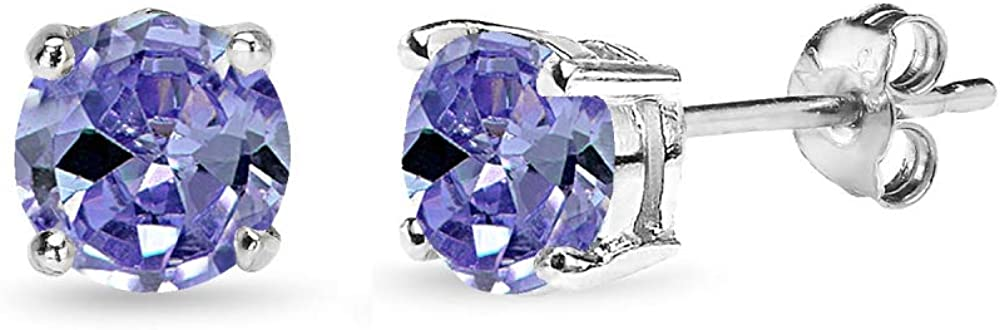 Sterling Silver Simulated Tanzanite Opening large release sale Solitaire Round Challenge the lowest price of Japan Dainty Stud
