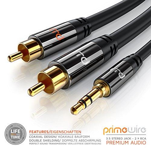 CSL - Cinch auf Klinke Kabel - 5m - 3,5mm Klinken Stecker zu 2X Cinch RCA Stecker Y - Adapterkabel Klinkenkabel - doppelte Schirmung - HiFi Audio Kabel für Smartphone Stereoanlage Verstärker UVM