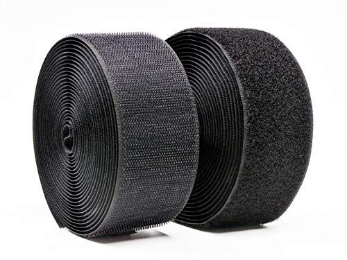 Vkey 50mm(2') Width 5 Meters Sew-On Hook and Loop Fastener Tape Tape Nylon Strips Fabric Non-Adhesive Back Black