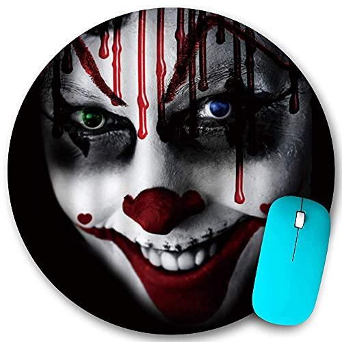Rundes Mauspad, Clown Horror Makeup Blut Alternative Horror Lachen Schwarz, rutschfeste Gummibasis Office Home Mauspads Klein 7,9x7,9 in Gaming Mouse Mate