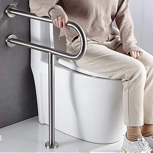 ESGT Asa De Seguridad para Baño Barra de Seguridad Baño Pared Suelo para Minusválidos Barra de Sujeción Baño para Discapacitados en Acero Inoxidable Acabado Satinado