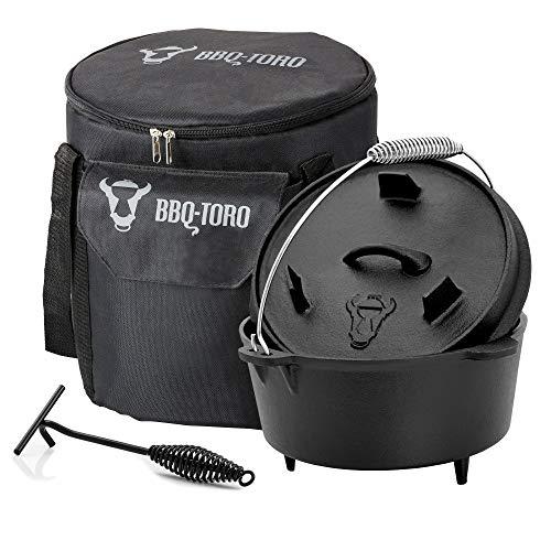 BBQ-Toro Dutch Oven Set 3-teilig I 4.5 QT Dutch Oven + Transporttasche + Deckelheber I Geschenk für Männer + Frauen