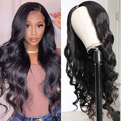UNice Hair U Part Wig Body Wave Human Hair Wig for Black Women,100% Brazilian Remy Hair Gluless Full Head Clip in Wig U Shape Wig 150% Density Natural Black(18Inch)