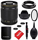 Opteka 500mm/1000mm f/8 Manual Mirror Telephoto Lens for Canon EF EOS 90D, 80D, 77D, 70D, 60D, 60Da, 1Ds, Mark III II 7D, 6D, 5D, 5DS, Rebel T8i, T7i, T7s, T7, T6s, T6i, T6, T5i, T5, T4i, SL3, SL2