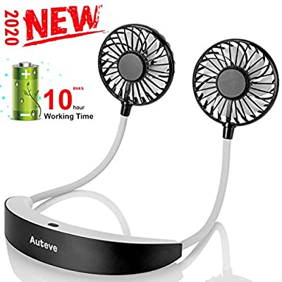 2020 New Hand Free Personal Fan, Auteve Portable Neckband Mini Fan - 7 Blade Dual Fans, 5200mAh USB Rechargeable Battery, 10H Working, 3 Speeds, 360 Degree Adjustment, for Workout Sports Travel Camping (Grey) from Auteve
