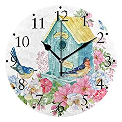 VIKKO Bird House Butterfly and Flowers Wall Clocks Battery Operated Silent Non Ticking Clock Home Decorative Round Acrylic Wall Clock 9.4 Inch Kitchen Bedroom Living Room Classroom Office Clock