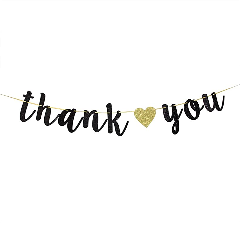 Black Glitter Thank You Banner - Engaged - Wedding - Bridal Shower Bunting Thanksgiving Photo Booth Props