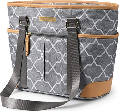 Arctic Zone Insulated Lunch Bucket Tote - Pointed Quatrefoil, Grey