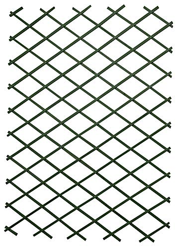 1.8m x 1.2m Green Riveted Garden Wall Trellis - Wooden Expanding Diamond Trellis Supports