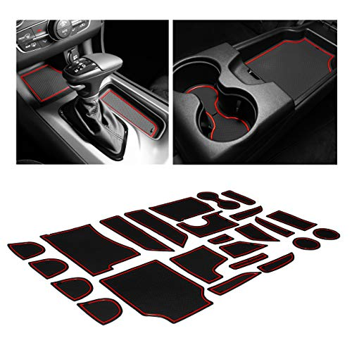 CupHolderHero fits Dodge Charger and fits Chrysler 300 Accessories Interior Non-Slip Anti Dust Cup Holder Inserts, Center Console Liner Mats, Door Pocket Liners 26-pc Set (2015-2021) (Red Trim)