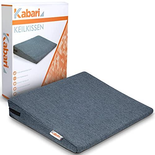 KABARI ®️ Keilkissen - bequemes ergonomisches Keilkissen - formstabiler Sitzkeil geeignet für Stuhl und Auto - 100% Baumwollbezug - waschbar und atmungsaktiv - grau