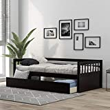 Merax Solid Wood Twin Size Platform Bed Frame for Kids/No Box Spring Needed Daybed, Espresso(Drawers)
