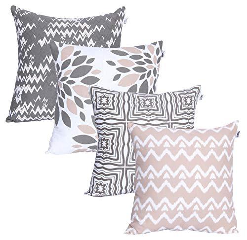 Amazon Brand - UMI Lote de 4 Cojines de algodón Cuadrados Decorativos lujosamente Impresos, Fundas de Almohada para el hogar, Sofa, Sillon, Silla de 45x45 cm en- Grey Beige
