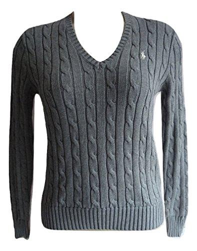 Polo Ralph Lauren - Maglione Kimberly in cotone con scollo a V, lavorato a maglia grigio....