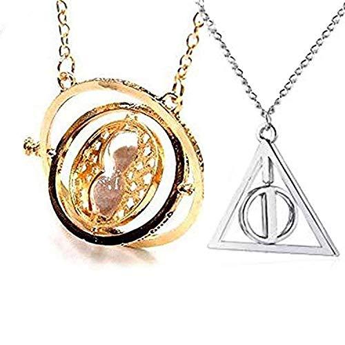 U&X Wizard Herry Potter halsketten Zeitumkehrer Hermine Sand mit Heiligtümer des Todes Halsketten Anhänger mit Sanduhr Kostüm Requisiten Cosplay Fans
