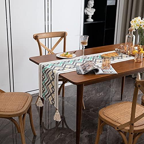 Camino De Mesa Geométrico Moderno Mantel Rectangular con Borlas Triángulo Verde Mantel De Café Irregular Adecuado para Mesas Largas Restaurantes Hogares