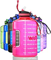 ETDW Gallon Motivational Water Bottle with Straw BPA Free, 3.78Litre Daily Water Intake Bottle with Time Marker 3.78L...