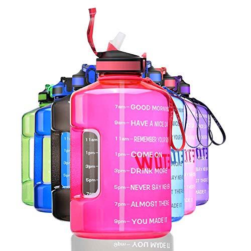ETDW Botella deportiva de 3,78 litros con indicación del tiempo, botella deportiva grande de 3,78 l con pajitas, sin BPA, para coche, a prueba de fugas, color rosa