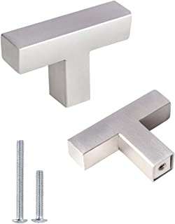 Kasten 10 Pack Brushed Nickel Cabinet Pulls, KS50NF Square T Bar Single Hole Knobs Drawer Handles 2 inch Over Length Stainless Steel for Kitchen and Bathroom Cabinets Cupboard