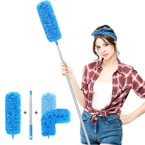 Microfiber Duster with Extension Pole(Stainless Steel), Extra Long 100 inches, with Bendable Head, Extendable Duster for Cleaning Ceiling Fan, High Ceiling, Keyboard, Furniture & Cobweb