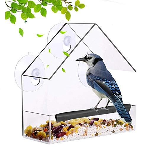 ZXY Alimentador de Pájaros Comederos para Pájaros Material de Cristal Acrílico Transparente con Ventanas Alimentador de Ventana de Succión de Gran Almacenamiento (Pájaro),15 * 6 * 15cm