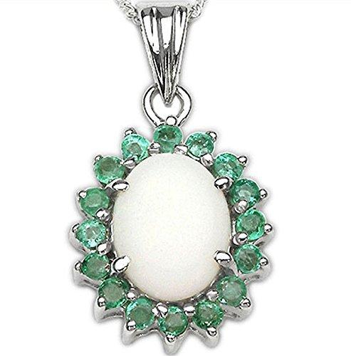 Schmuck-Schmidt-Collier/Halskette mit Smaragd/Opal-Anhänger-925 Silber