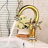 DJY-JY Badezimmer-Waschtischarmatur Gold Retro Heiß- und Kaltwasser Doppelgriff Badezimmer Waschbecken Wasserhahn Badezimmer Küche Wasserhahn