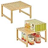 mDesign Organizer cucina da appoggio – Ripiano portaoggetti impilabile in bambù con gambe in metallo – Scaffale universale cucina, per piani lavoro, pensili e dispense – Set da 2 – naturale
