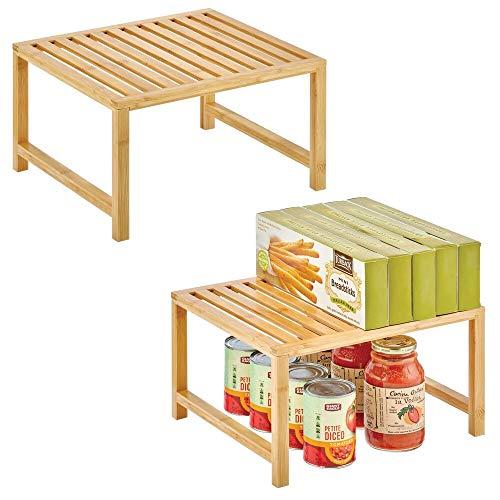 mDesign Organizador de cocina – Práctico almacenaje de cocina en bambú sostenible – Estante de almacenamiento ecológico para armarios de cocina, encimeras, etc. – Juego de 2 – color natural