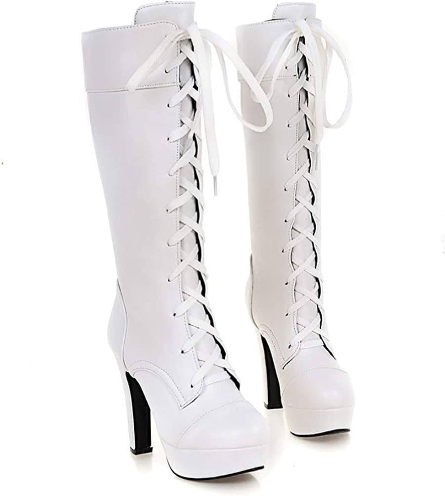 Women's Mid Calf Platform Boots Round Toe High Heel Bootie Ladies Lace-Up PU Leather Shoes