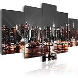 murando - Cuadro en Lienzo 200x100 cm New York City Impresión de 5 Piezas Material Tejido no Tejido Impresión Artística Imagen Gráfica Decoracion de Pared Ciudad Noche d-A-0022-b-p