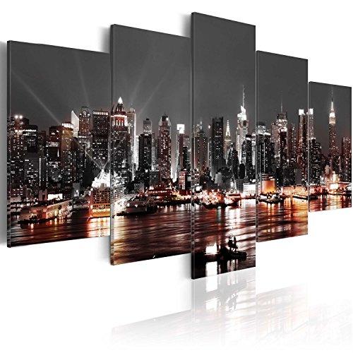 murando Quadro 200x100 cm Stampa su tela in TNT XXL Immagini moderni Murale Fotografia Grafica Decorazione da parete 5 pezzi cittacitta di notte NY New York d-A-0022-b-p