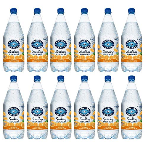 Crystal Geyser Orange Sparkling Spring Water PET Plastic Bottles, BPA Free, No Artificial Ingredients or Sweeteners, 42 Fl Oz, 12 Pack