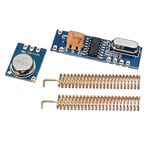 ILS - Kit de Control Módulo de transceptor Remoto 3sets 433MHz 100M inalámbrica 3 Piezas Ask transmisor STX882 + 3 Piezas Receptor Ask SRX882 + 6 Piezas de Cobre del Resorte de Antena
