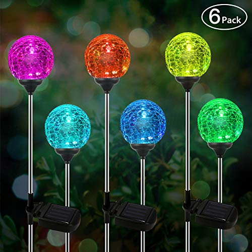 Solar Globe Lights, OxyLED Crystal Glass LED Light/Solar Stake Light, Color-Changing Outdoor Landscape Garden Light Decoration, Garden Decor, SL75 (6-Pack)