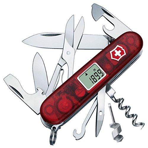 Victorinox Taschenmesser Traveller (28 Funktionen, Grosse Klinge, Display, Schere) rot transparent