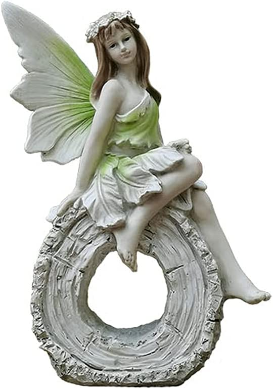 PLHMS Sitting Fairy Statue Angel Resin Figurines New Orleans Mall Garden security Creati