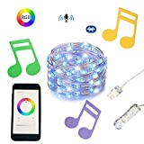 RGB Fairy String Lights Music Led Strip Lights 5M 16.5ft Led Lights Strip Color Changing Wireless Smart Phone App Controlled Timer Copper Wire String Light for Home, Kitchen, Party for IOS and Android