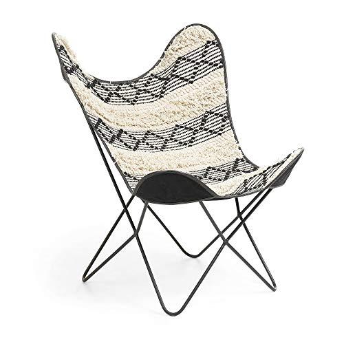 Kave Home - Sillón Fly con Estructura Butterfly de algodón Blanco y Negro