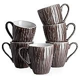DOWAN Coffee Mugs, 14 Oz Large Handle Coffee Mug Set of 6, Ceramic Mug for Coffee, Tea, Cocoa, and Mulled Drinks, Dark Gray